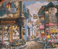 "ITALIAN STREET SCENE/PASTICCERIA painting, completed paint by number, 20""  x 16"""