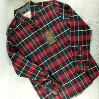 Weatherproof mens red plaid flannel button front shirt SIZE S long sleeve (B1)