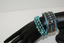 Beaded Turquoise Blue Gold Tone Stone Chip Wrap Around Bracelets Lot of 2