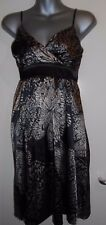 Miso black/taupe silky strappy butterfly tie back crossover bust dress size 8