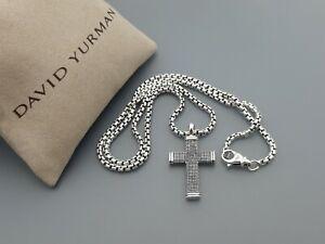 David Yurman Men's Small Sky Cross Pendant Necklace with 20 in Box Chain