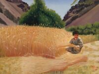 Oil on Canvas Figural Farming Wheat Harvest Painting
