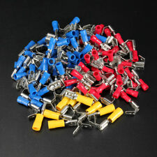 100X Piggy Back Spade Crimp Electrical Connector Terminal 6.3mm RED BLUE YELLOW