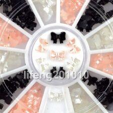 beauty black white 3d bow tie wheel acrylic nail art glitter decoration tools CN