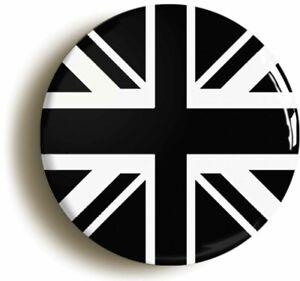 BLACK UNION JACK BRITISH FLAG BADGE BUTTON PIN