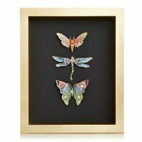 Jay Strongwater Kirby Butterfly Dragonfly Moth Wall Art 14K gold SHW3328-250 NEW