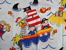 Pirate Curtains Boys Room Decor Blue Treasure Sharks Ships Window Coverings