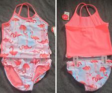 NEW The Children's Place M 7/8 Tankini Swim Suit Set--bright peach flamingos