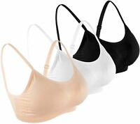 B.BANG Women's Sports Bra Seamless Comfortable, Black-nude-white, Size Large T