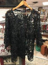 711514a28c1 IGIGI Plus 18 20 Shirt Top Blouse Black Open Sequin Overlay NO STRETCH Fancy