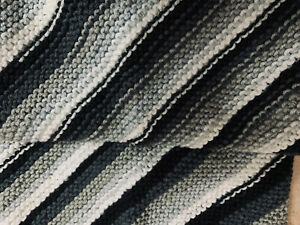 """Hand Knit 26"""" Square Diagonal Stripes Blk Wht Grey Unisex Carriage Baby Blanket"""