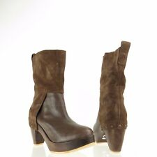KDB Women's Shoes Brown Leather Suede Ankle Booties Size 6 M NEW!