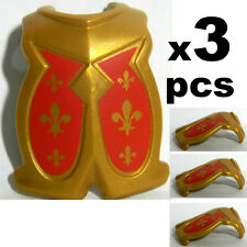 3 Pcs Playmobil Gold and Red Floren symbol Chest Shield Armor