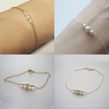 For Mother's Day Festivel Pearl Silver Plated Cuff Chain Bangle Bracelet Jewelry