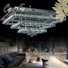 Galaxy Modern LED Square Crystal Ceiling Pendant Lamp Lighting Fixture Clear