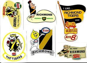 6 x RICHMOND TIGERS promo Vinyl Decal Sticker VINTAGE RETRO VFL AFL FOOTBALL