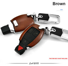 Brown Smart Leather Key Cover Case Fits Mercedes Benz AMG Class C E S GL CLA