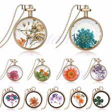 Living Memory Lavender Flower Floating Charm Round Glass Locket Pendant Necklace