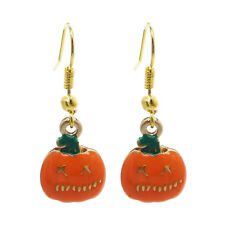1 Pair Halloween Enamel Metal Pumpkin Charm Dangle Earrings Handmade Jewelry