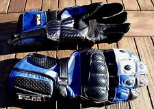 FLM Motorrad- Handschuhe Leder Carbon - Protektoren schwarz- blau-weiß L/XS Lady