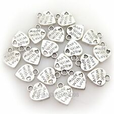 Wholesale 100PCS DIY Silver/Gold Plated Love Heart Beads Charms Pendants Jewelry