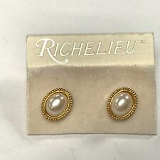 Richelieu Earrings Faux Pearl small beads border pierced GOLD TONE SIGNED