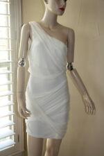 Alice & Olivia One Shoulder Goddess Wrap dress white chiffon bandage toga M