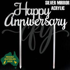Happy Anniversary Wedding Cake Topper Acrylic Rose Gold Silver Mirror