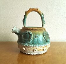 Vintage Fratelli Fanciullacci Teal & Orange Pottery Jug Vase, 1960 Italy 1 of 4
