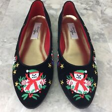 Women's Ugly Christmas Sweater Matching Loafers Size 9.5M Snowman Winter S5