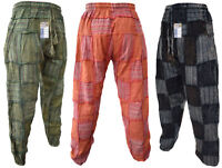 Men's Cotton Stonewashed Patchwork Elastic Genie Casual Pants Hippie Trousers