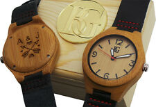 PERSONALISED Wood Leather Luxury Watch Lovers Engraved Unisex Wooden Box