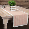 KENDRA STRIPE RED Table Runner French Country Stripe Creme Lace Farmhouse 13x36