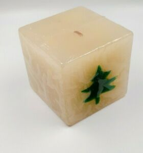 """Candle Unscented Christmas Tree  Embellished Both Side 3""""× 3"""" New Sealed"""