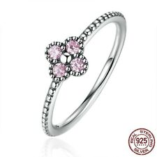925 Sterling Silver Solitaire Ring Pink Crystals CZ Romantic Clover Engagement