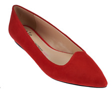 Isaac Mizrahi Live! Suede Pointed Toe Ballet Flats Red Flame Women's 7W Wide New