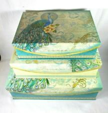 Punch Studio~Vtg. French Peacock~Complete 3 Piece Set~Lg. Nesting Keepsake Boxes