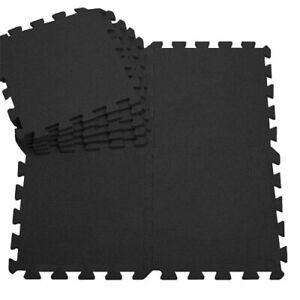 EVA Interlocking Soft Foam Play Mat Floor Tiles Kids Gym Yoga Exercise Black