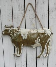 Primitive painted metal COW sign/plaque wall hanger farmhouse country home decor