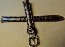 12mm Regular Womens Leather Dark Brown Crocodile Watch Band Silver Tone Buckle