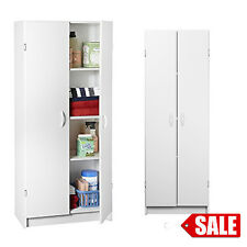 Kitchen Storage Pantry Cabinet Wood Tall Food Cupboard White Laundry Organizer