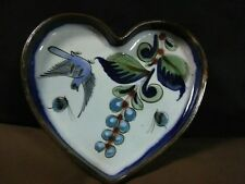 Unique KE Mexican Art Pottery Hand Painted Blue Bird/Floral Heart Tray,Mexico
