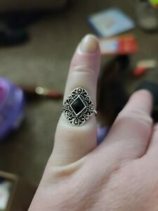 Black Stone Stainless Steel Ring
