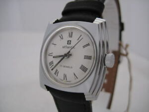 NOS NEW VINTAGE SWISS STAINLESS ST WATER RESIST WOMEN'S ATLANTIC WATCH 1960'S