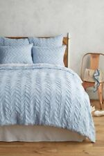 Anthropologie TEXTURED CHEVRON DUVET Cover TWIN Blue Cotton Button Close NIP