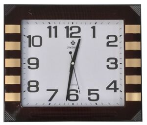 Large 40cm x 35cm Rectangle Wall Clock Mahogany Effect Wood Frame & Gold Finish