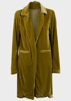 Olive Green Velour Velvet Open Fronted Coat Coatigan Jacket Chic Blogger