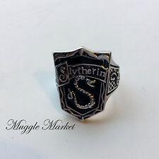 Hogwarts Slytherin House Crest Anillo De Plata Negro Horrocrux Draco Voldemort Harry
