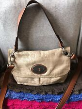 Fossil Maddox Natural  & Brown Leather ShoulderBag Magnetic Flap Hobo Crossbody