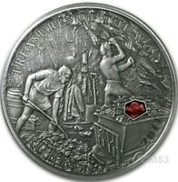 2011 5$ Treasures of the World RUBY Silver Coin with REAL RUBY INSERT..